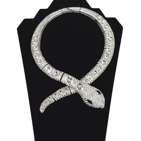 Snake Necklace - Silver plated body with Rhinestone Crystals