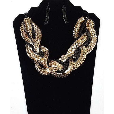 Necklace and Earring Set - Gold plated and Black metal chains