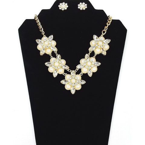Necklace and Earring Set - Gold plated body with imitation Pearl and Rhinestone