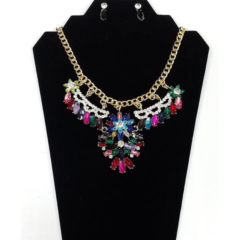 Necklace and Earring Set - Gold plated body with Multi-Color Rhinestones