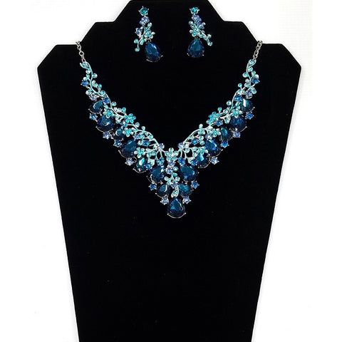 Necklace and Earring Set - Silver plated body with Aqua-Marine Rhinestone