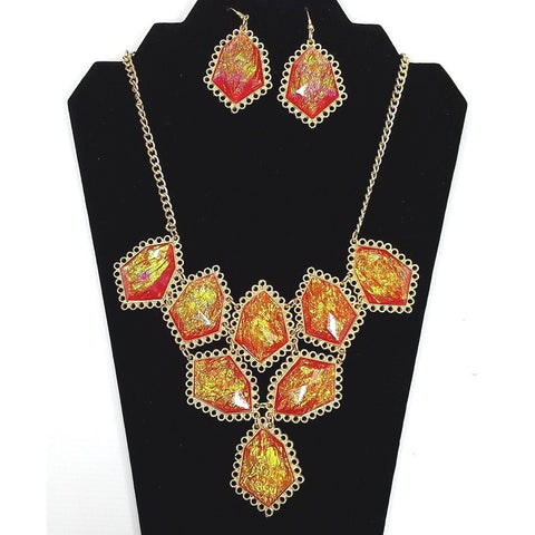 Necklace and Earring Set - Gold plated body with Rhinestone Amber