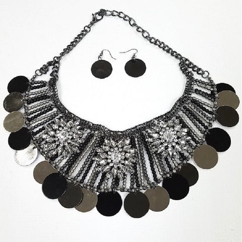 Necklace and Earring Set - Silver Gray plated body with metal beads and Rhinestones