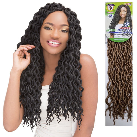 Janet Collection OPEN LOOP Crochet Braid - 2X MAMBO NATURAL COILY LOCS 18""