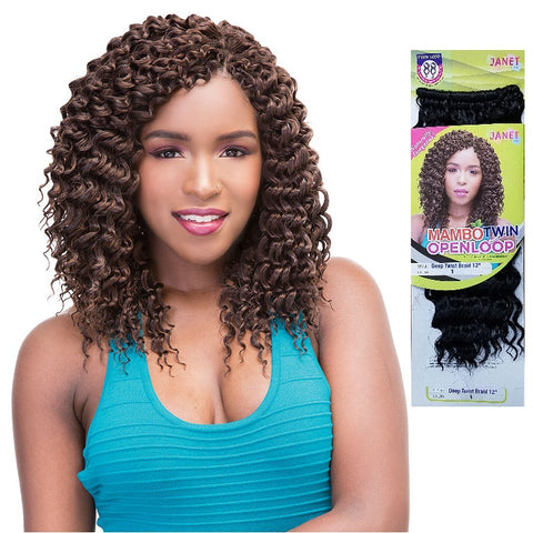 Janet Collection MAMBO OPEN LOOP Crochet Braid - Deep Twist 12""