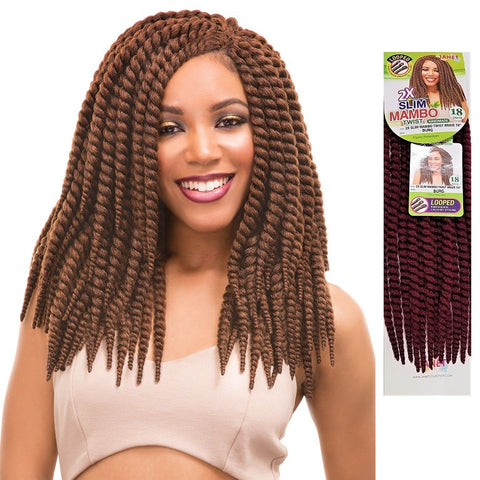 Janet Collection PRE-LOOP CROCHET BRAID - 2X Slim Mambo Twist Braid 18""