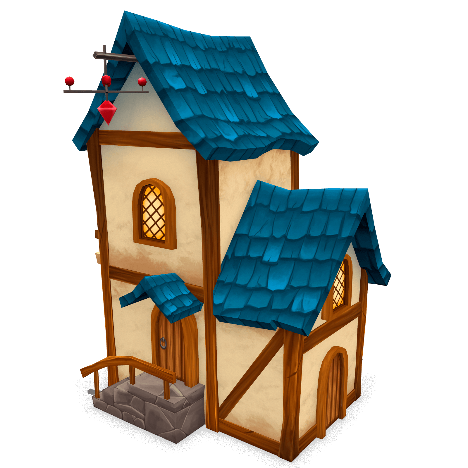 free stylized house with blue roof