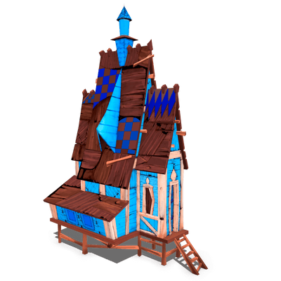 Stylized House 3D model with wood details and nice roof