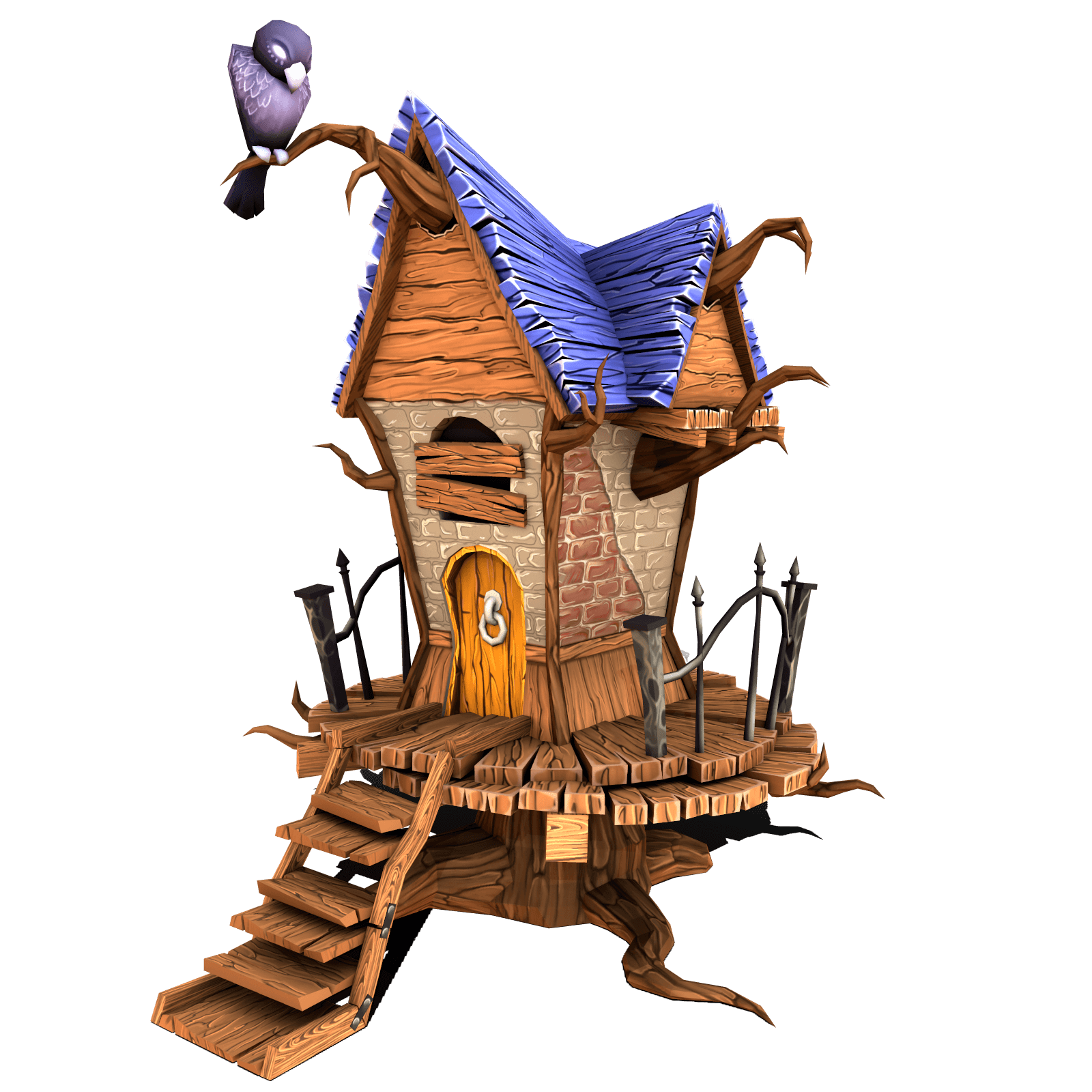 Stylized 3D model of House with wood and bird