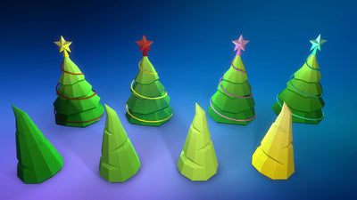 game 3d model Christmas Tree in few variation