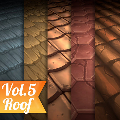 Five Textures for roof game ready stylized