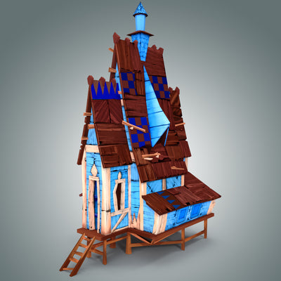 Low Poly Stylized Wooden House - LowlyPoly