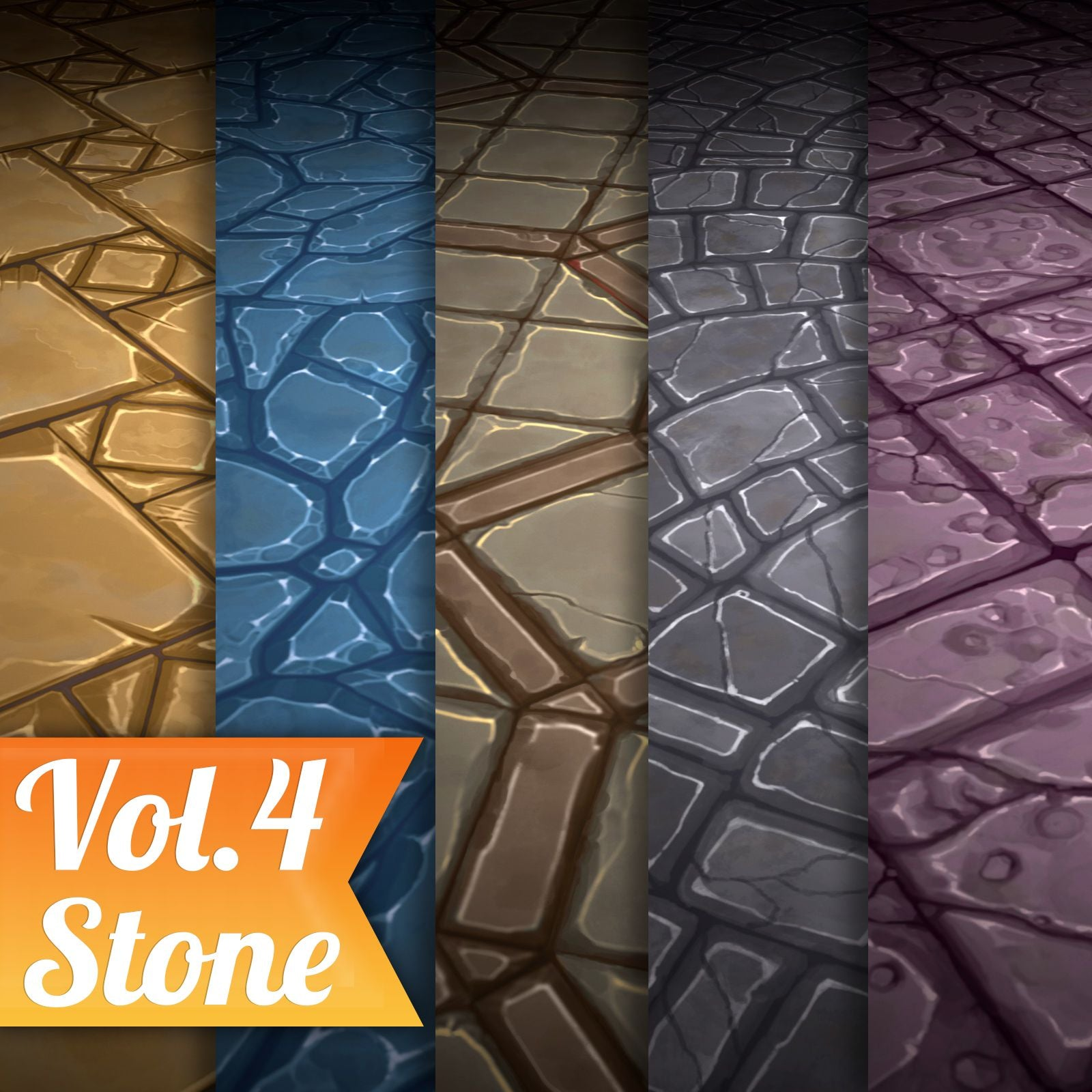 Stone Tile Vol.04 - Hand Painted Texture Pack - LowlyPoly