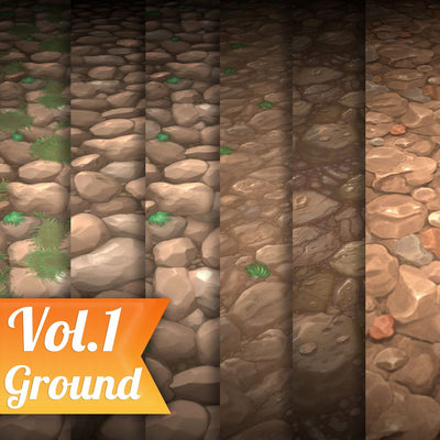 6 hand painted texture for ground with grass
