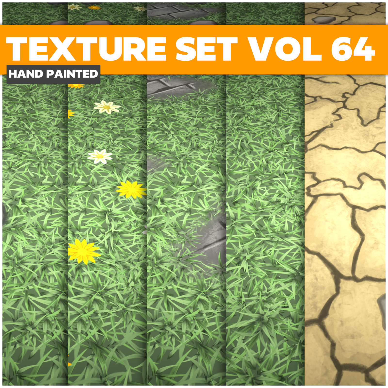 Grass Vol.64 - Game PBR Textures - LowlyPoly