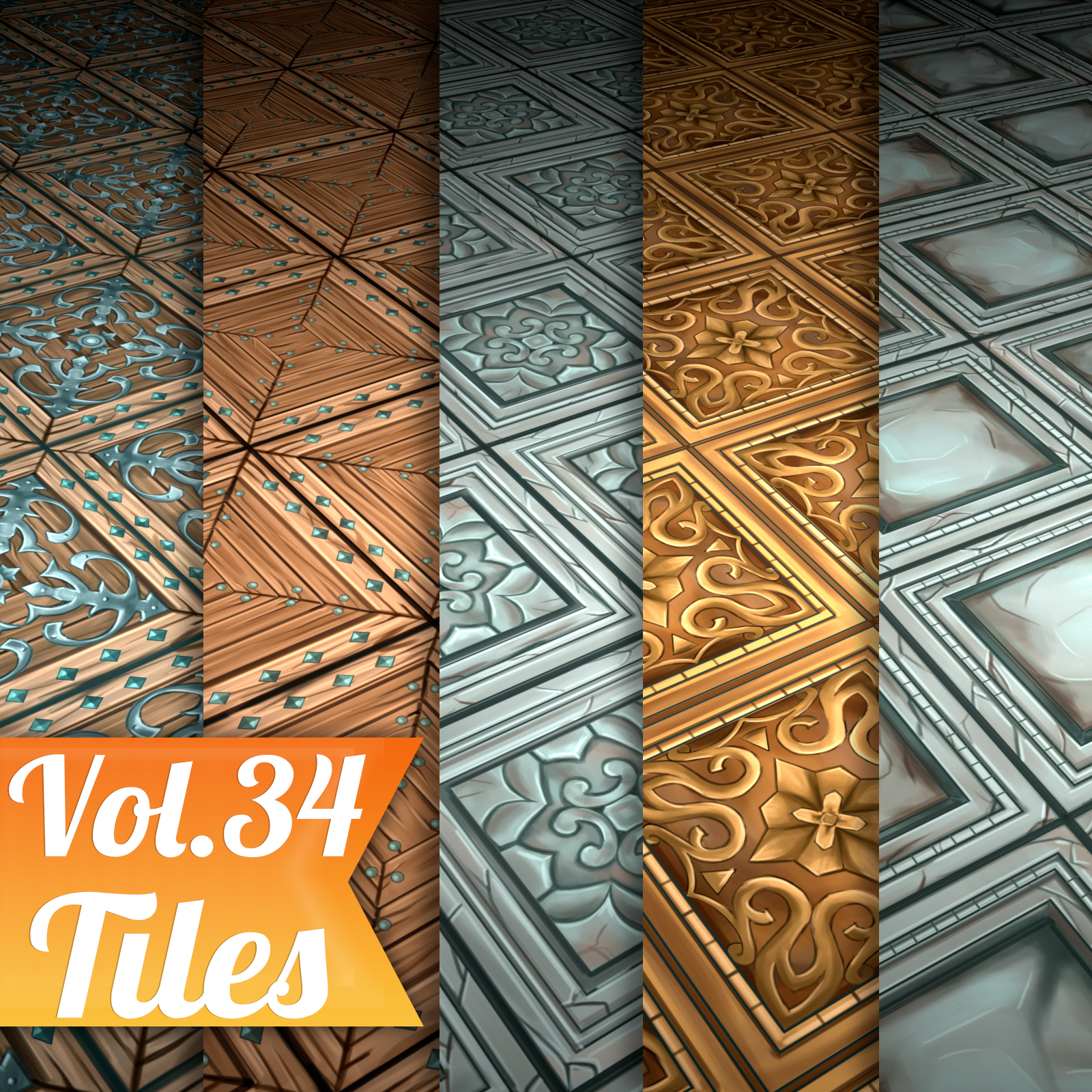 Tiles Vol.34 - Hand Painted Textures - LowlyPoly
