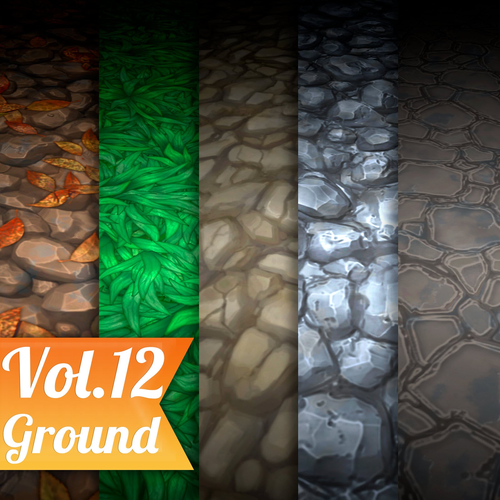 Ground Mix Vol.12 - Hand Painted Texture Pack - LowlyPoly