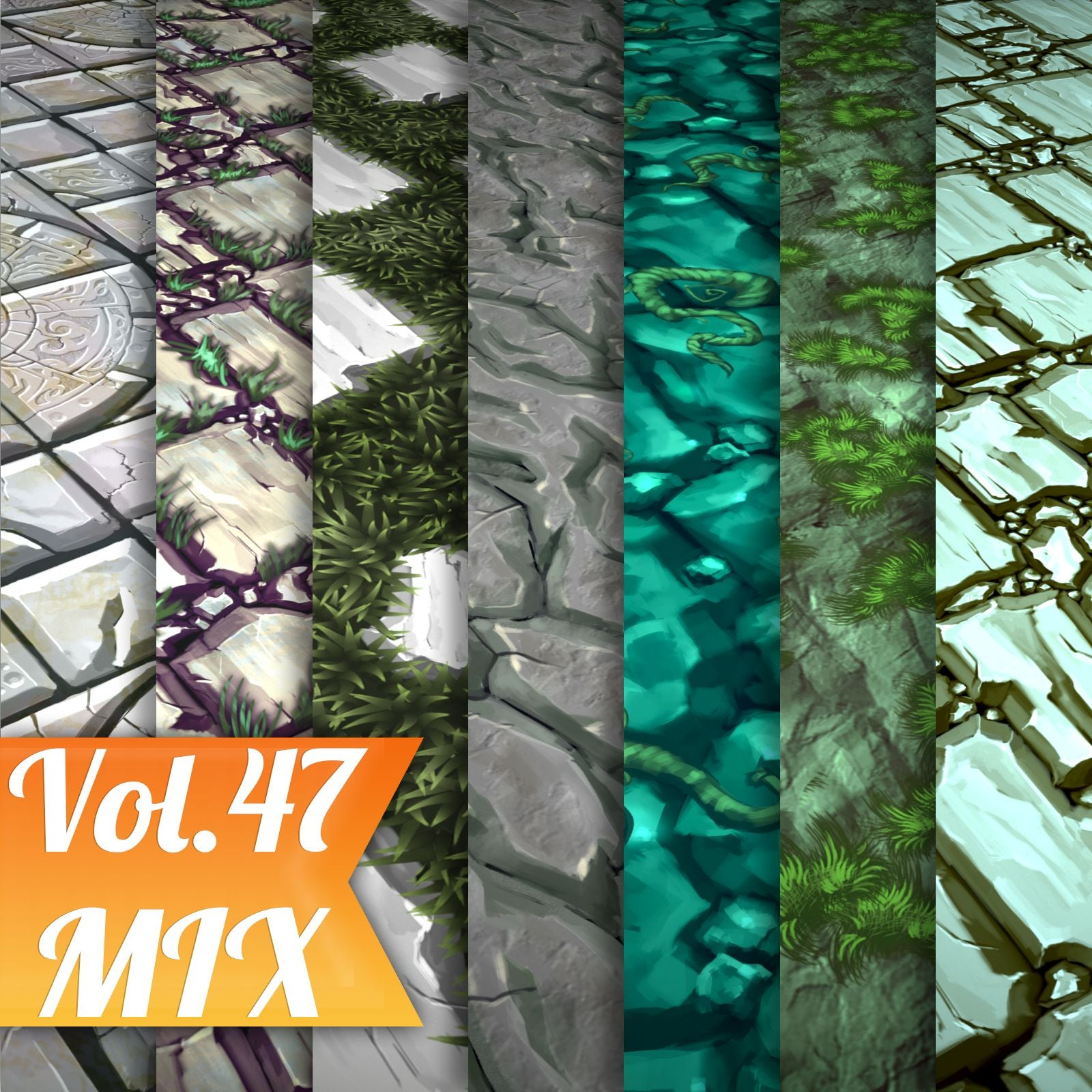 Mix Vol.47 - Hand Painted Texture Pack - LowlyPoly