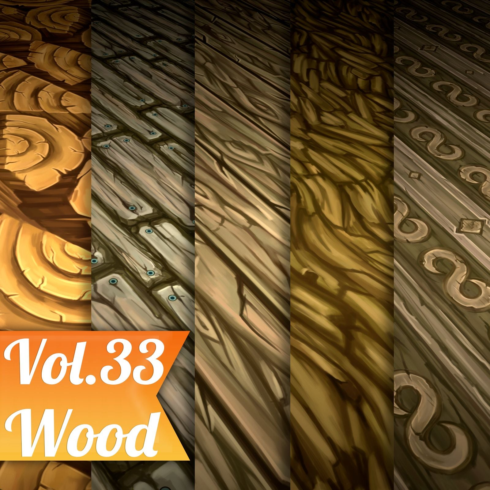 Wood Vol.33 - Hand Painted Texture - LowlyPoly