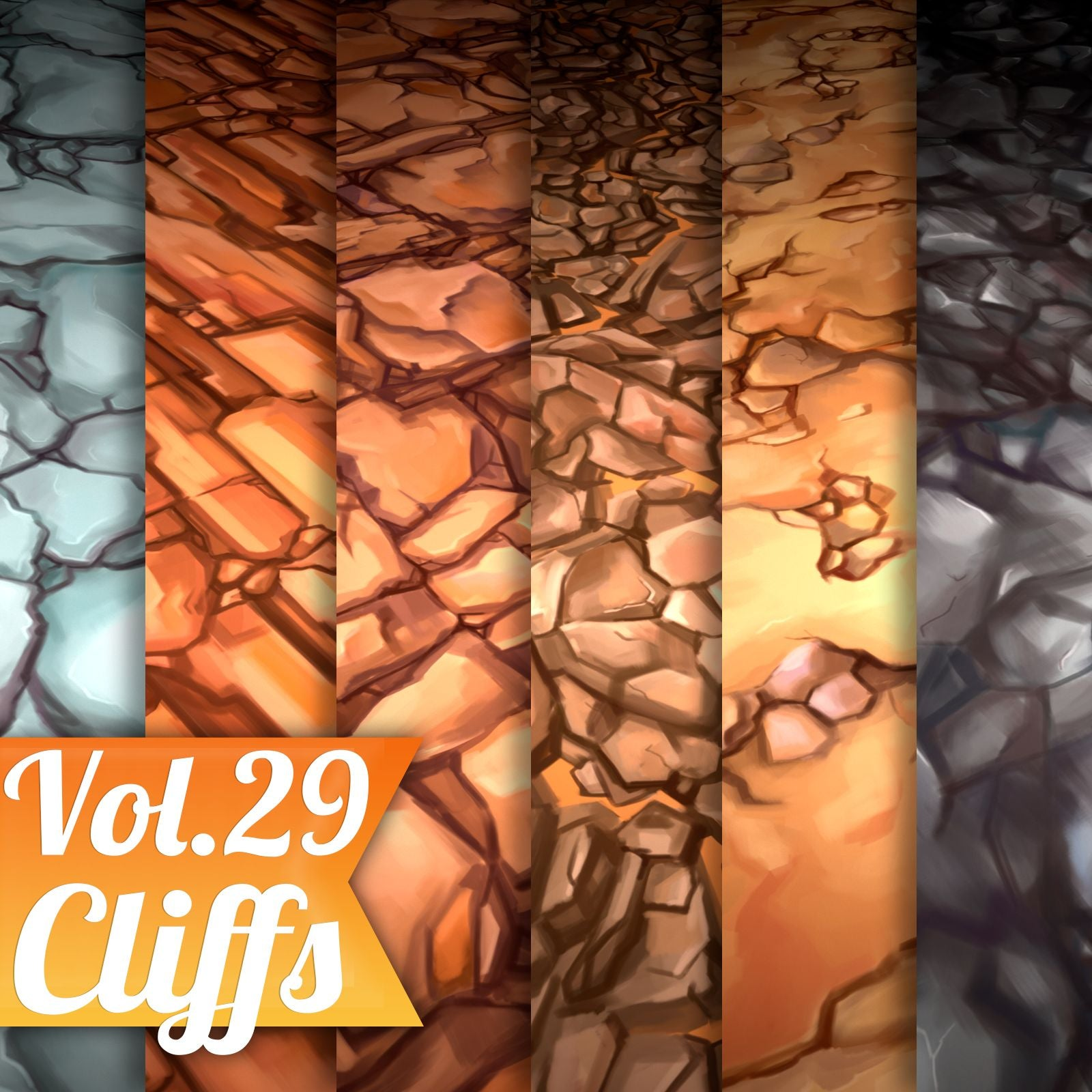 Cliffs Vol.29 - Hand Painted Texture - LowlyPoly