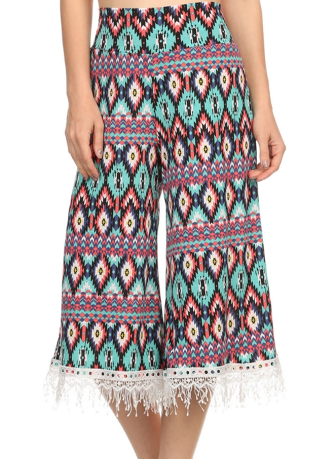 be6dc43566d1 P-2110 TQ Printed High Waisted Cropped Gaucho Pants With Crochet Fring –  EverythingAnythingShop.com