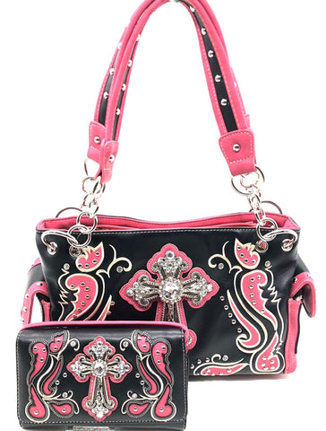 bc45dd76ba Western cross studded with rhinestone women Concealed Carry handbag and wallet  set- pink color