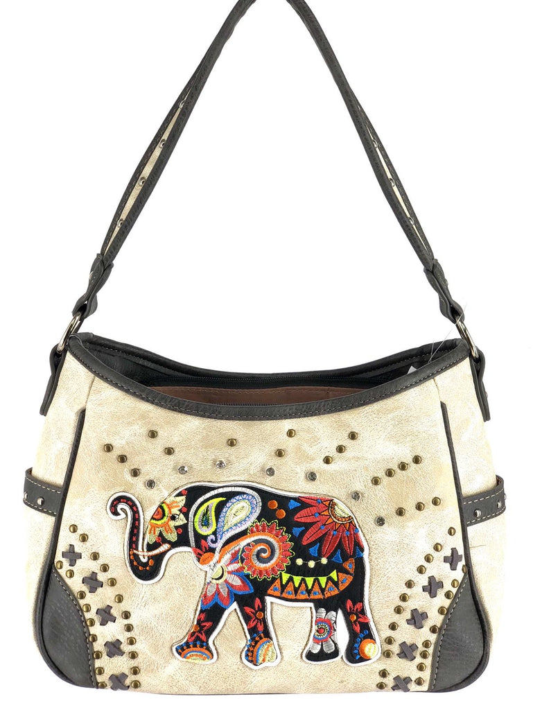 c2cc295aae38 Western style Women Embroidered Elephant Concealed Handbag : beige color