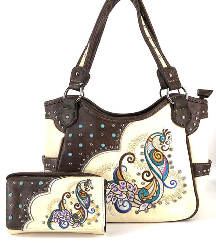 Western style embroidery peacock studded concealed carry handbag wallet set  - beige color 1aa1e22d38720
