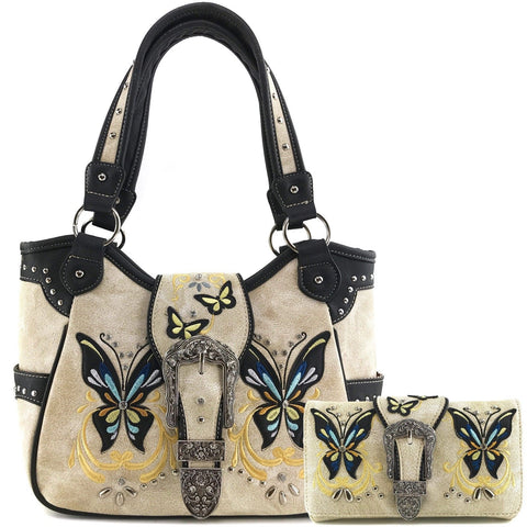 Western Style Butterfly Tooled Buckle Concealed Carry Purse Country Handbag  and wallet set - beige color a2438d74cbdef