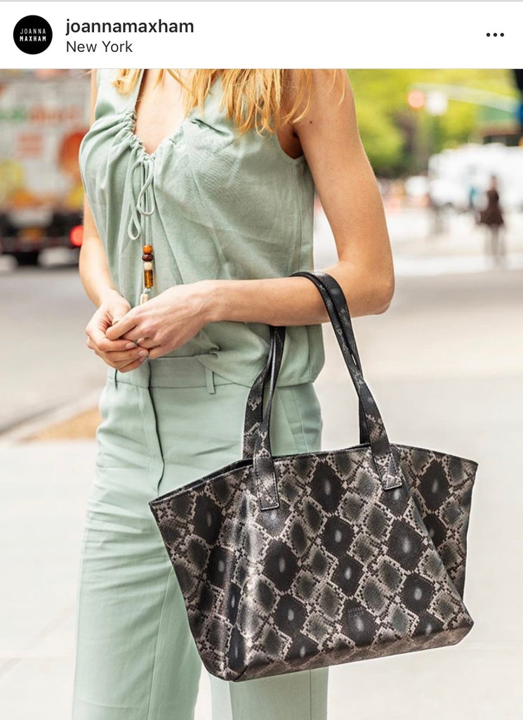 Rive Gauche Tote Black Boa Print Leather