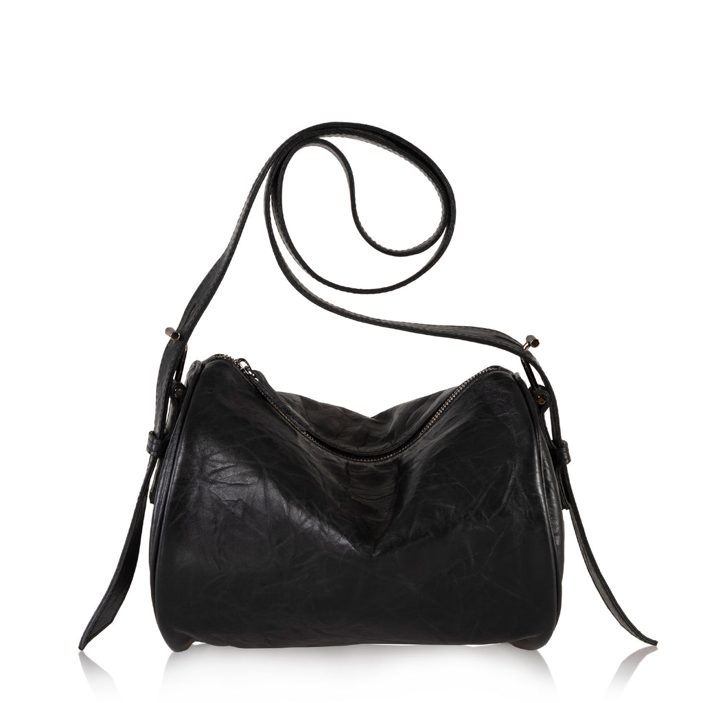 The Roll Bag Crossbody (Black Crinkled Leather)