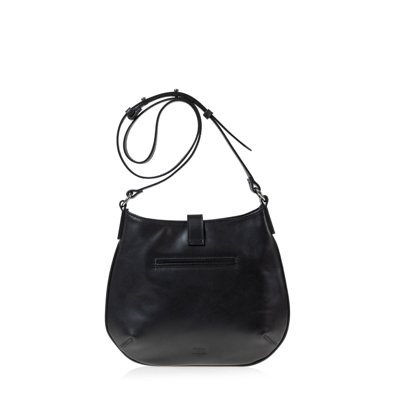 Tulip Crossbody Bag (Black Leather)