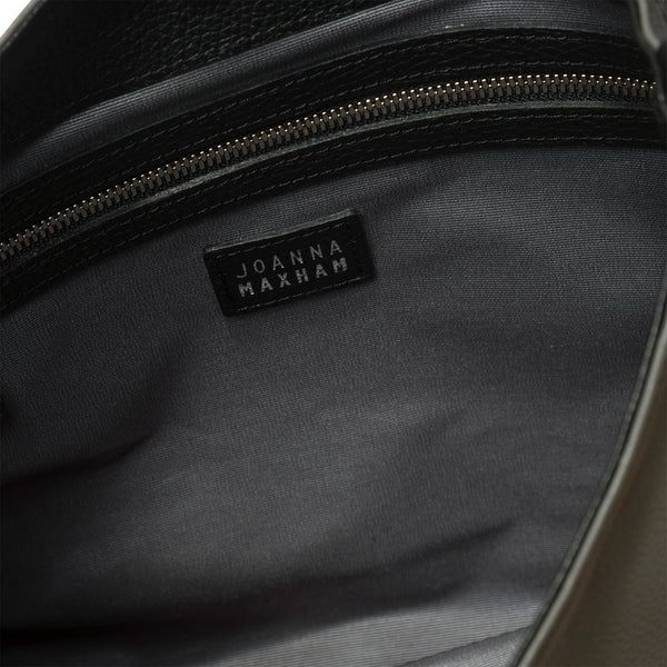 The Charter Shoulder Bag (Black Croco Embossed Leather