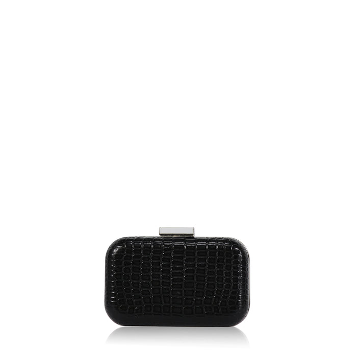 Minaudière Clutch in Black Croc Embossed Leather
