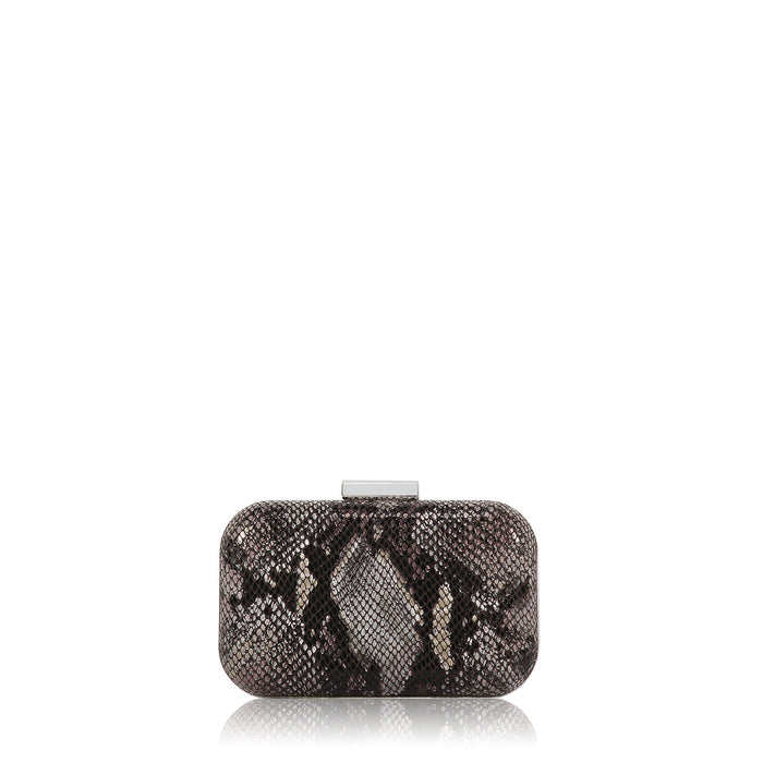 Minaudière Clutch in Snake Print Leather