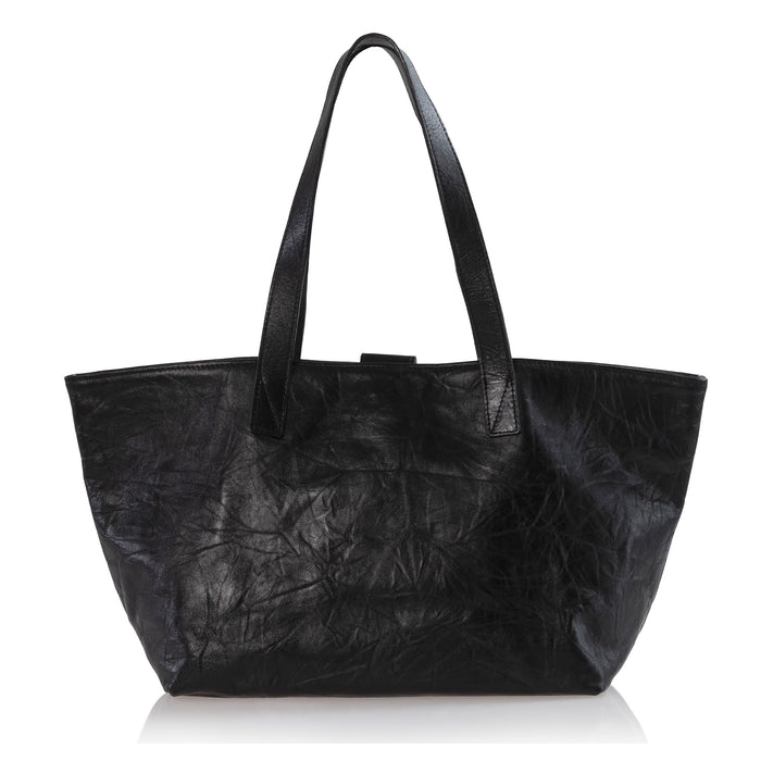 Rive Gauche Tote Black Distressed Leather