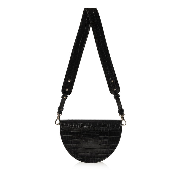JOANNA MAXHAM Lune Saddle Bag in Black Croco