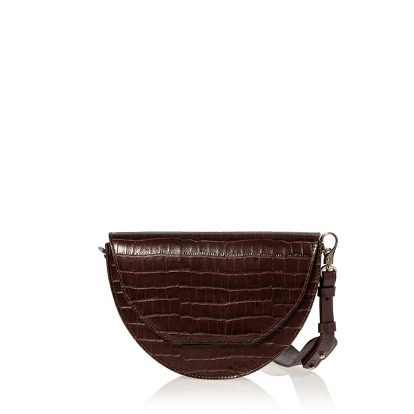 JOANNA MAXHAM Lune Saddle Bag in Brown Croco
