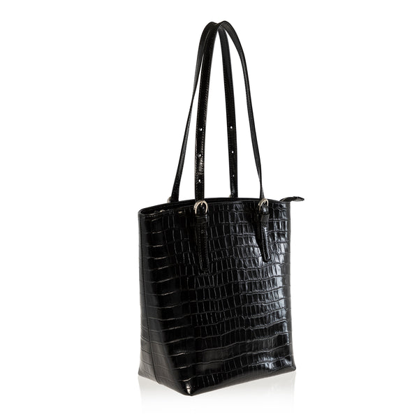 JOANNA MAXHAM Bell Tote Handbag in Black Croco Leather