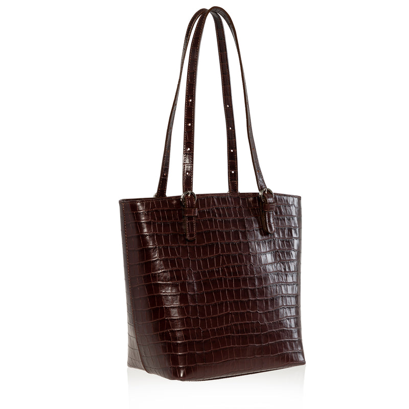 JOANNA MAXHAM Bell Tote Handbag in Brown Croco Leather