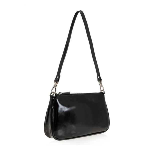 JOANNA MAXHAM Baguette Shoulder Bag in Black Shiny Leather
