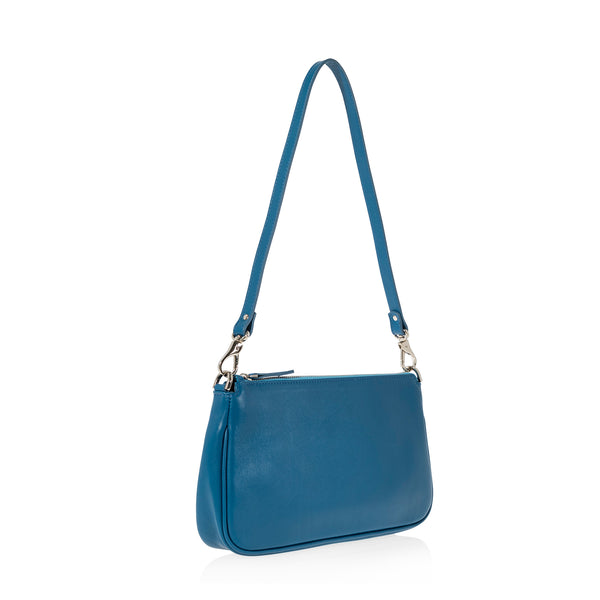 JOANNA MAXHAM Baguette Shoulder Bag in Reef Blue  Leather