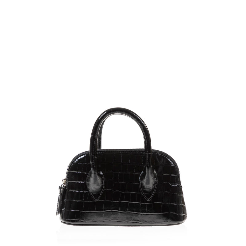 Mini Lady D (Black Croc Embossed Leather)