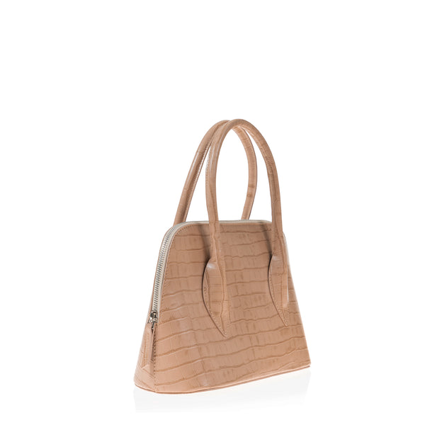 Lady D Satchel (Beige Croc Embossed Leather)