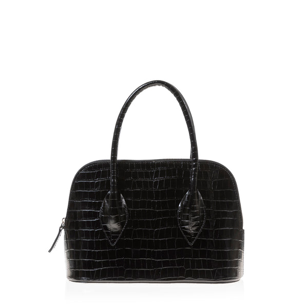 Lady D Satchel (Black Croc Embossed Leather )