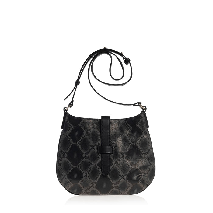 Tulip Crossbody Bag (Black Boa Print)