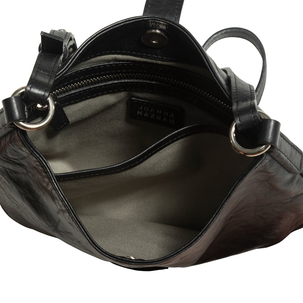 Tulip Crossbody Bag (Black Distressed Leather)