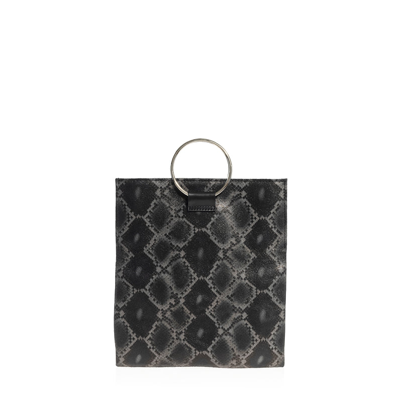 Convertible Mini Loop Tote (Black Boa Print)