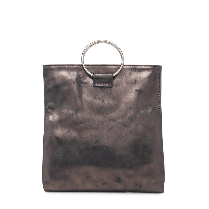 Convertible Mini Loop Tote (Slate Metallic Leather)