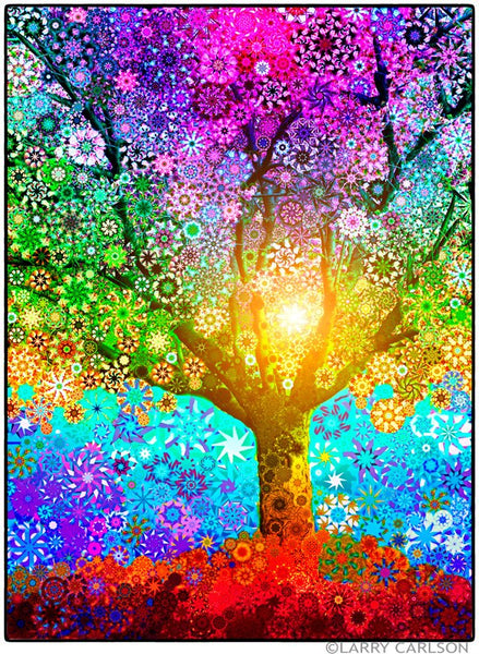 Rainbow Star Tree - psychedelic art